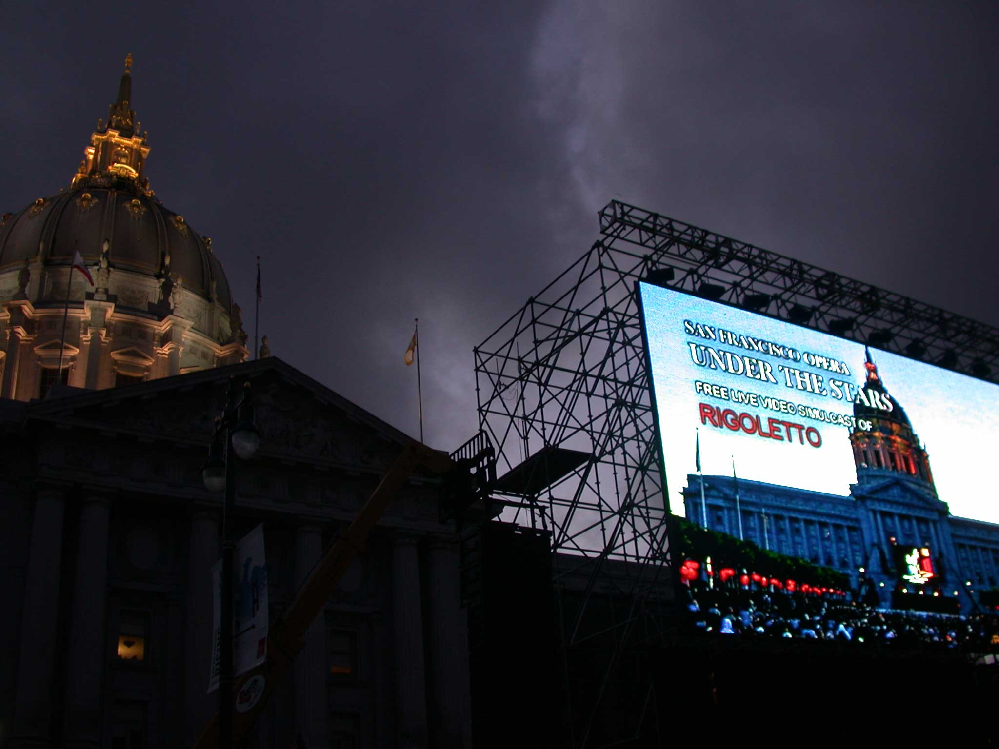 Live Simulcast of the San Francisco Opera Performing Rigoletto Outside City Hall